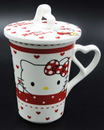 Hello Kitty Red Ceramic Mug Coffee Cup with Cover