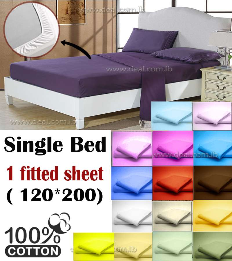 fitted sheet cover 100% For Single Bed
