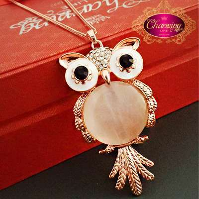 Owl Pendant Opal Gold Plated Long Chain