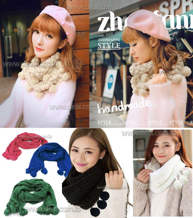 Fashion Women Winter Warm Knitted Neck  Wool Cowl Snood Long Scarf Shawl