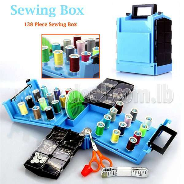 Compact Sewing Box with 138 Pieces Accessories