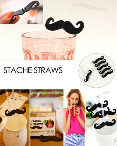 4 Pcs Stache straws Mustache Party tubes