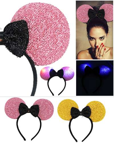 Mickey Mouse LED Ears With Bow Hair Band