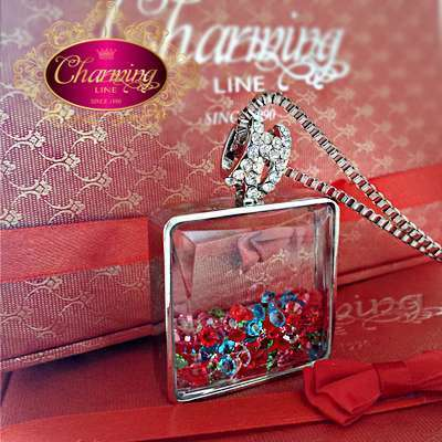 Perfume Bottle Pendant White Gold Plated Long Chain