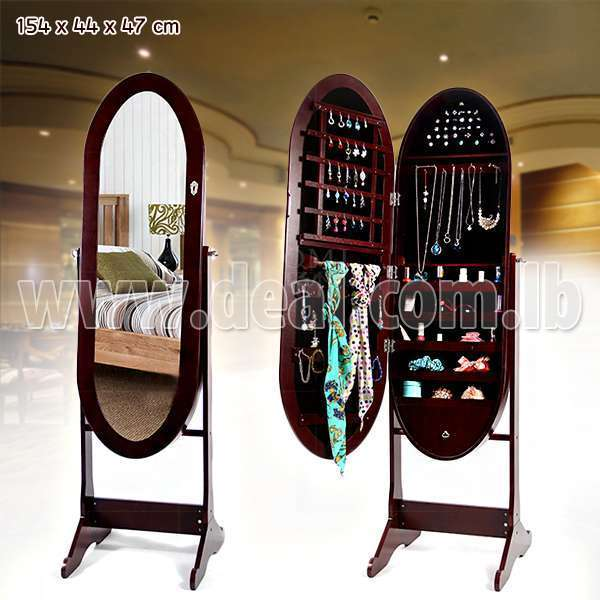 Brown High Quality Cheval oval jewelry mirror armoire with floor standing Code Deal-118