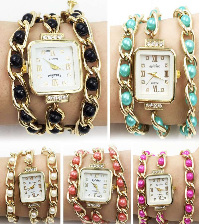 wristwatches long chain of gold chain and pearl strap