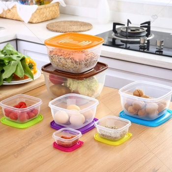7PCS+Plastic+Square+Food+Container+with+Rainbow+Lids