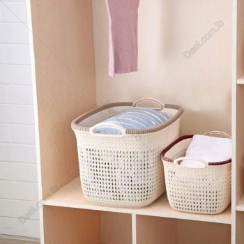 39+cm+plastic+rattan+hollow+storage+basket