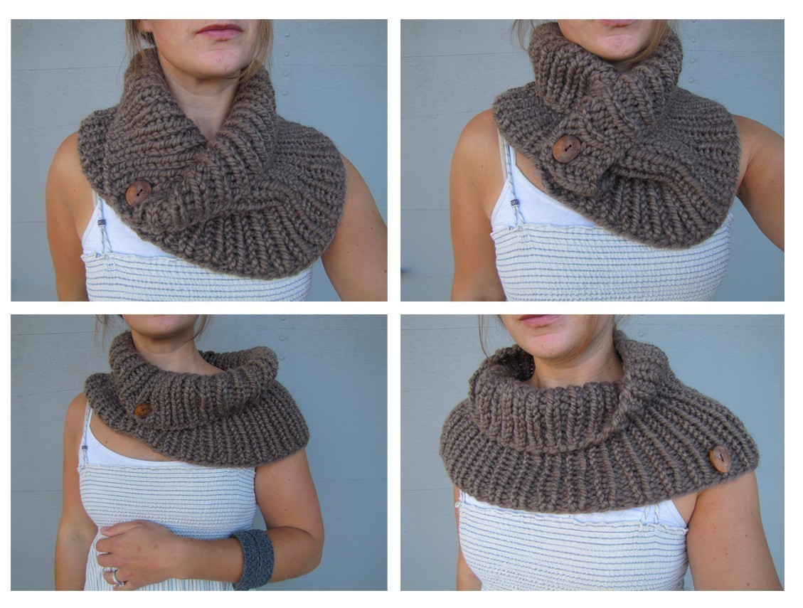 Knit Neckwarmer Scarves with Buttons