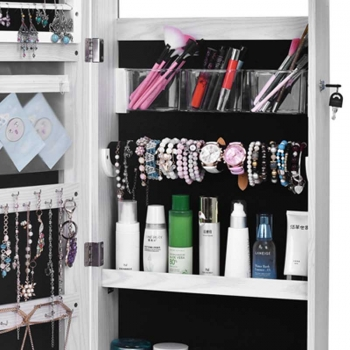 Wall+Or+Door+Mounted+Mirrored+Jewelry+Cabinet+Organizer+With+LED+Light+Mirror