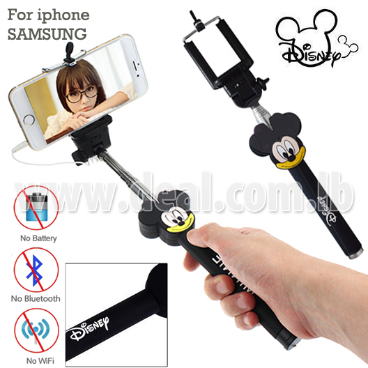 64pcent off mickey mouse selfie timer iphone audio cable wired selfie stick. Black Bedroom Furniture Sets. Home Design Ideas
