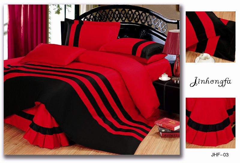 iGrab.me - 72pcent Off Pure Red And Black Color Bedding Sets Queen ...